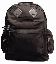 96afbb9af45b Amazon.com   Black Deluxe Water Resistant Nylon Back Pack   Hiking Daypacks    Sports   Outdoors. School PackDay BackpacksBackpack BagsBackpack ...