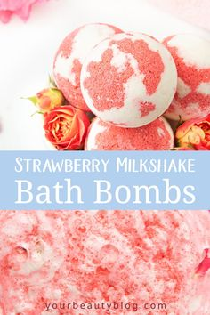 DIY Moisturizing Bath Bombs Strawberry Milkshake Bath Bombs - How to make a strawberry milkshake bath bomb without cornstarch. These cute and unique bath bombs w - Mason Jar Diy, Mason Jar Crafts, Diy Hacks, The Body Shop, Homemade Bath Bombs, Diy Bath Bombs, Shower Bombs, Lush Bath Bombs, Natural Bath Bombs