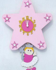 Pink Fairy Star Handmade Wooden Pendulum Wall Clock. Bedroom accessory for girls bedroom. Looking for ideas for accessorising girls bedrooms for a Fairy Princess Themed Bedroom
