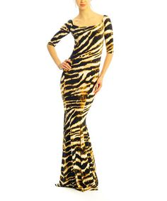 Another great find on Gold & Black Animal Maxi Dress by Zac Studio Black Animals, Tiger Stripes, Full Figured, Black Gold, That Look, Party Dress, Curvy, Gowns, Formal Dresses