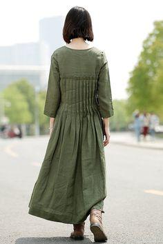 Robe en lin vert Casual plissée ample confortable Maxi