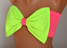 PADDED ..THINER BCAK..Neon green and neon pink bow swimsuit bandeau bikini top with pads bow bandeau bikini bow bikini top women's fashion on Etsy, $33.00