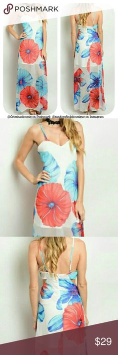 """Juniors Ivory blue red flowers floral maxi dress Fabric Content: 100% POLYESTER  Measurements:  L: 58"""" B: 30"""" W: 26""""  (measured from the Small)  Brand New in original plastic packaging retail  Adjustable Spaghetti Straps Dresses Maxi"""