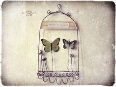 """Cabinet de curiosité """"papillons"""" en fil de fer, by Coeur de Ficelle"""