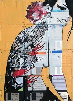 Alternative Canvas - #Art+Graphics, #Sustainability #Electronics, #FloppyDisk, #HardDisk (source: creativespotting.com)