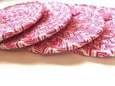 White Coasters, Coffee Coasters, Tea Coaster, Drink Coasters, Fabric Cards, Fabric Coasters, Wedding Shower Gifts, Custom Mats, Different Shades Of Pink