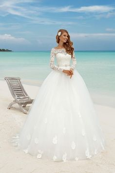 Princess 2016 Lace Long Sleeves Ball Gowns Wedding Dresses Illusion Plus Size Summer Beach Bridal Gowns With Beaded Sash Vestido