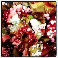 My favorite home made salad - marinated chicken (Spiedie), avocado, blueberries, strawberries, yellow pepper, chopped walnuts, feta cheese, fat free raspberry pecan dressing...  YUM