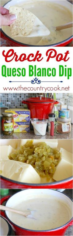 Crock Pot White Queso Dip recipe from The Country Cook. Just like my favorite…