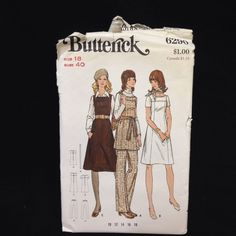 Uncut Butterick Pattern 6290 Misses Dress or Jumper & Pants VTG 18 A-line Mini