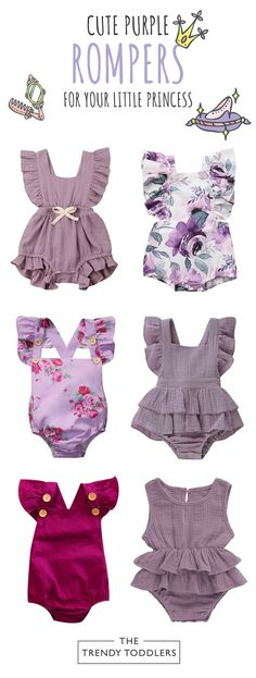 Shop our collection of baby girl purple rompers at thetrendytoddlers…. Shop our collection of baby girl purple rompers at thetrendytoddlers…. Baby Girl Romper, Baby Girl Newborn, Baby Dress, Cute Rompers, Girls Rompers, Baby Girl Fashion, Kids Fashion, Baby Girl Purple, Cool Baby Clothes