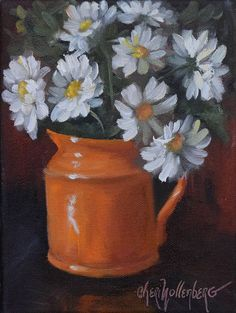 Title and Description:  Orange Pitcher With White Daisies  6x8 Original Oil Painting on Wrap around canvas, edges painted black, unframed, hanging