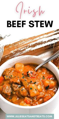 Irish Beef Stew has a delicious, rich and bold sauce made with Guinness Beer. It's loaded with potatoes, tender stew meat, carrots, celery and seasonings. Warm up with a hearty bowl of stew tonight.
