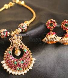 Buy GORGEOUS TRADITIONAL KEMP STONE GANESHA NECKLACE SET south-indian-jewellery