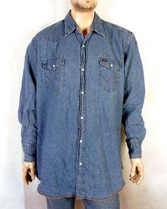 3b7d35261c vtg 80s 90s Wrangler Denim Western Pearl Snap Shirt cowboy SZ 2XT Denim  Button Up
