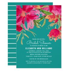 Turquoise | Fuchsia Romantic Watercolor Flower Painting Design Personalized Bridal Shower Invitations. Customize the name, date , text and all details of your Invitations. Matching Wedding Invitations, Save the Date Cards, Wedding Postage Stamps, Bridesmaid to be Request Cards, Thank You Cards and other Wedding Stationery and Wedding Favors and Gifts available in the Floral Design Category of the Best Day Ever store at zazzle.com