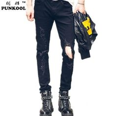 New Fashion Ripped Skinny Mens Rock Style Jean Pants