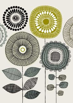 Print - Poster Flowers No4, limited edition giclee print by Eloise Renouf