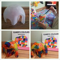 What a cute idea! Elmer out of a milk carton...