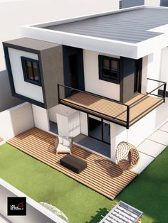 Small Modern House Exterior, Modern Small House Design, Modern House Facades, Small Modern Home, Modern Architecture House, Tiny House Design, Minimalist House Design, 3 Storey House Design, Bungalow House Design