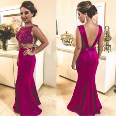 Red Appliques Beading Backless Mermaid Prom Dress, Formal Evening Party Gowns, 567 sold by elisepromdresses. Evening Party Gowns, Evening Dresses, Formal Dresses, Backless Mermaid Prom Dresses, Vestido Pink, Dress With Bow, Beautiful Dresses, Ball Gowns, Party Dress