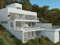 Dream House Exterior, Dream House Plans, Concept Architecture, Modern Architecture, Houses On Slopes, Philippine Houses, Modern Villa Design, House On Stilts, Hillside House