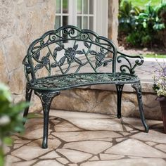 Coral Coast Rose Cast Aluminum Curved 37.5 in. Loveseat Bench - Verdigris Green