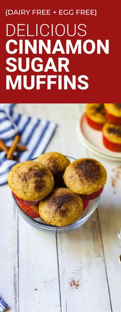 Vegan cinnamon sugar muffins are dairy free and egg free! Easy to make, kid friendly recipe. #muffins #dairyfree #eggfree