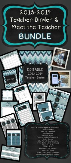 FREEBIE! Over 150 Pages in this Teacher Binder and Meet the Teacher Bundle.  Get ready for the 2013-2014 school year! Free through midnight (CST) on Monday (6/24).