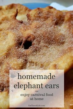 Love carnival or fair food? Bring carnival food to your home with this elephant ear recipe. This is perfect snack when you want fair food, but can't get to one because the fair isn't around. Baking Recipes, Cake Recipes, Snack Recipes, Dessert Recipes, Snacks, Bread Recipes, Yummy Recipes, Köstliche Desserts, Delicious Desserts