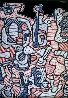 "Dishwasher - Jean Dubuffet, 1965  'Dishwasher' is composed of interlocking, jigsaw-like shapes. The series began as ball-point pen doodles and display what Dubuffet described as his ""meandering, uninterrupted and resolutely uniform line, which brings all planes to the surface""."
