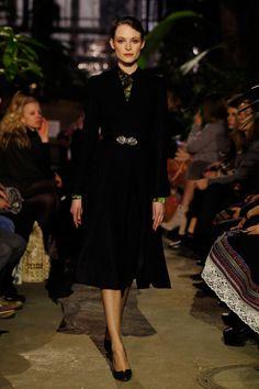 A model walks the runway during the Lena Hoschek Fashion Show Berlin at Botanischer Garten on January 16, 2018 in Berlin, Germany.