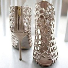 Sparkly High Heels with Zippers