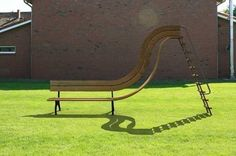 garden furniture, bench with slide