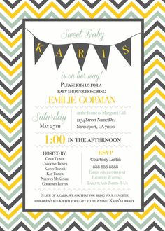 Chevron Baby Shower Invitation for Girl. $15.00, via Etsy.