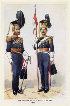 British; 12th Prince of Wales's Royal Lancers, Officer & Lancer 1842 by R.Simkin