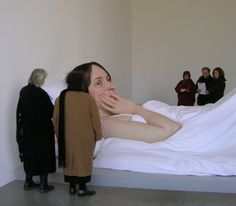 "Ron Mueck, ""In Bed"" 2005. This hyperrealist sculptor creates massive pieces that are so real they're difficult to disbelieve."