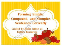 This set reinforces the Common Core standard of forming simple, compound, and complex sentences.