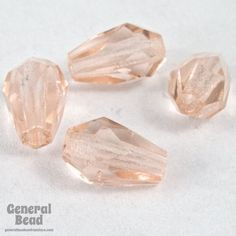 5mm x 7mm Transparent Rose Faceted Teardrop