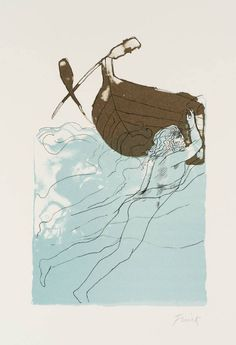 Dame Elisabeth Frink's Calypso 1973-4.   The title of this print refers to Calypso who, in Greek mythology, enchanted Odysseus with her singing and prevented him from returning home for a number of years.