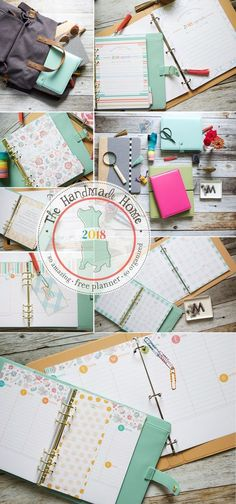 The Free 2018 Planner is here! over 200 files of customize-able goodness in amazing colorful fun to plan your year. {The Handmade Home} Planner 2018, Agenda Planner, Home Planner, Planner Layout, Day Planners, Planner Pages, Happy Planner, Printable Planner, Planner Stickers