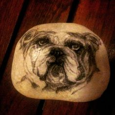 "RM 10 L'p - doggy 02 3.5"" x 3"" charcoal/pencil drawing on stone"
