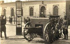 Warszawa Dworzec Wiedeński armata żołnierze foto Vintage postcard, Alte postkarte aus Warschau, stara pocztówka, Warszawa