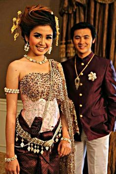 Beautiful Elegant Deep Plum Attire Accessorized With Silver Golds And Pearls Khmer Weddingtraditional Dresseswedding Outfitsasian