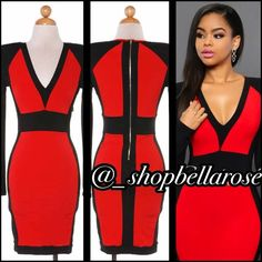Code red ‼️‼️ Very gorgeous and sexy color block body con dress. AVAILABLE IN SIZES SMALL-LARGE. Please do not purchase this listing. Comment size and I will make a new listing for you 96% polyester 4% spandex Dresses Midi