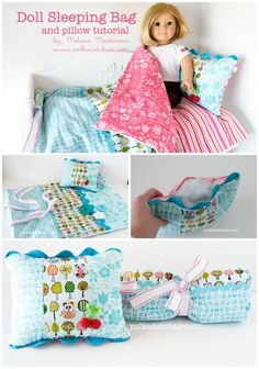A free American Girl Doll Sleeping Bag Tutorial. Complete sewing pattern and instructions for a sleeping bag for an American Girl doll. American Girl Outfits, Ropa American Girl, American Girl Crafts, American Doll Clothes, Bag Sewing Pattern, Bag Patterns To Sew, Sewing Patterns, Doll Patterns, Dress Patterns