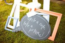 Love the chalkboard bubbles that could be props in a diy photo booth