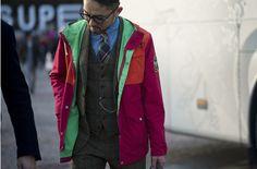 80's Windbreaker over Tweed suit