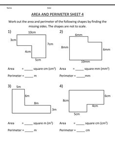 Grade 4 Math Worksheets Area and Perimeter   Learning Printable