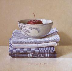 Keukendoeken en Chinese kom 2010 (20 x 20 cm) door Ingrid Smuling